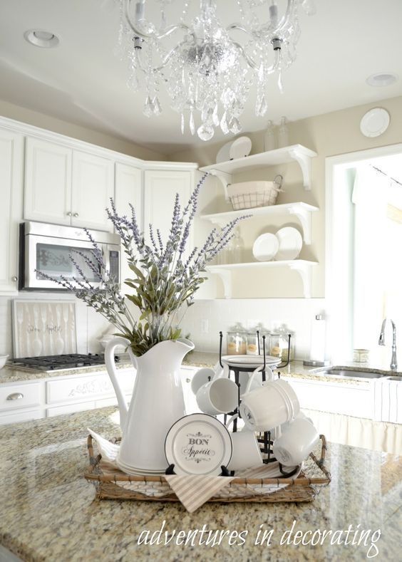 10 Beautiful Ways To Use White Farmhouse Pitchers The Everyday Home Www Everydayhomeblog Com Farmhouse Kitchen Decor Kitchen Table Decor Kitchen Island Vignette