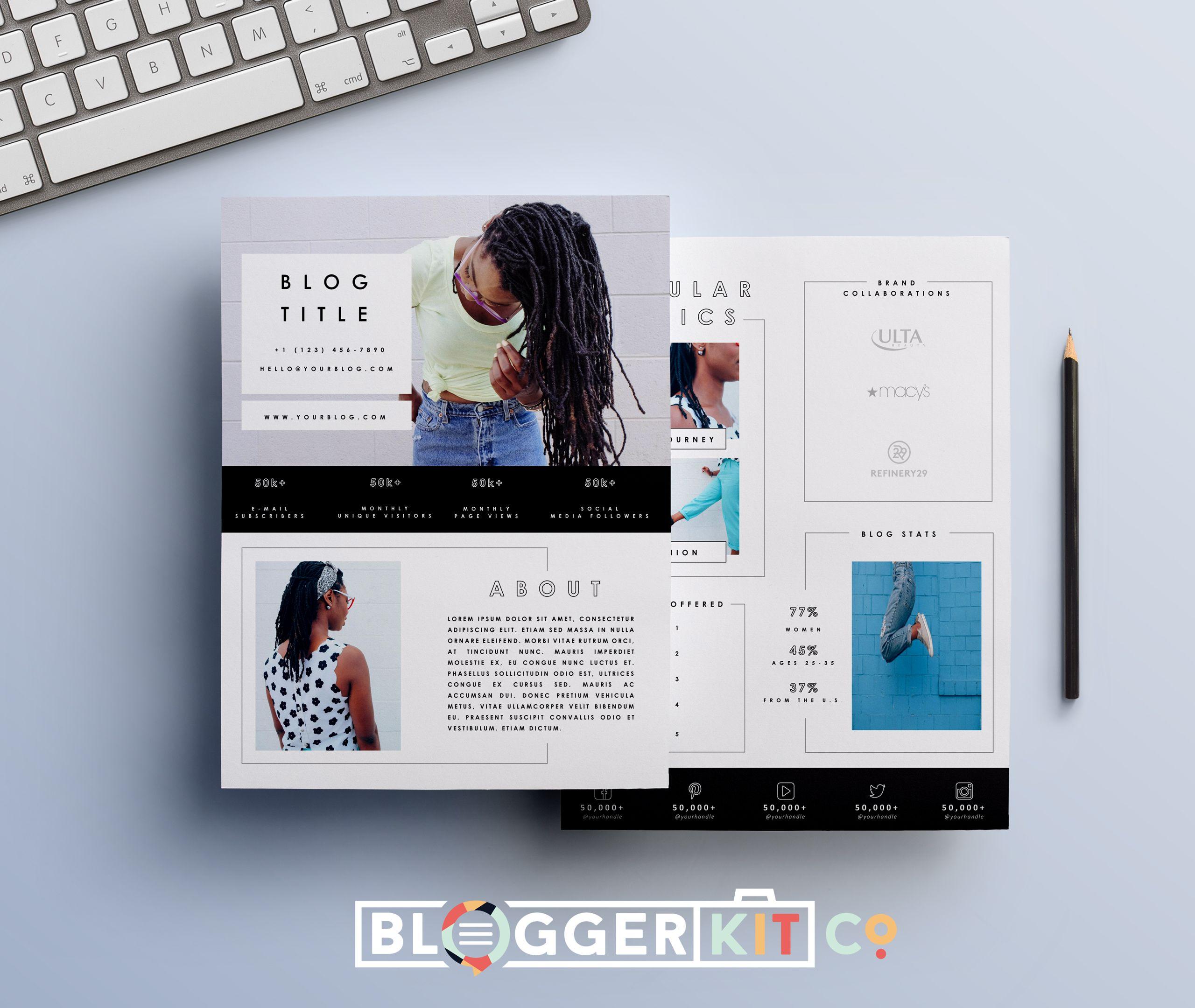 Two Page Media Kit Templates | media kit | Pinterest