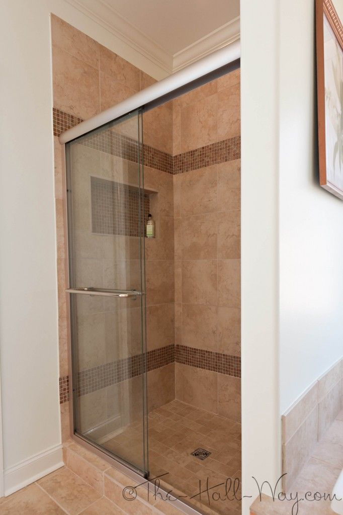 Master Bathroom - Tile Shower with Merola Coppa Tan Glass Tile ...