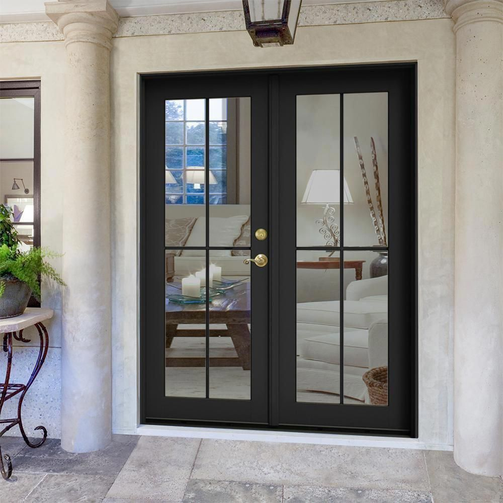 Front Door Decor Discover Jeld Wen 60 In X 80 In W 2500 Bronze Clad Wood Left Hand 4 Lite French Pa In 2020 Wood French Doors French Doors Patio Brick Exterior House