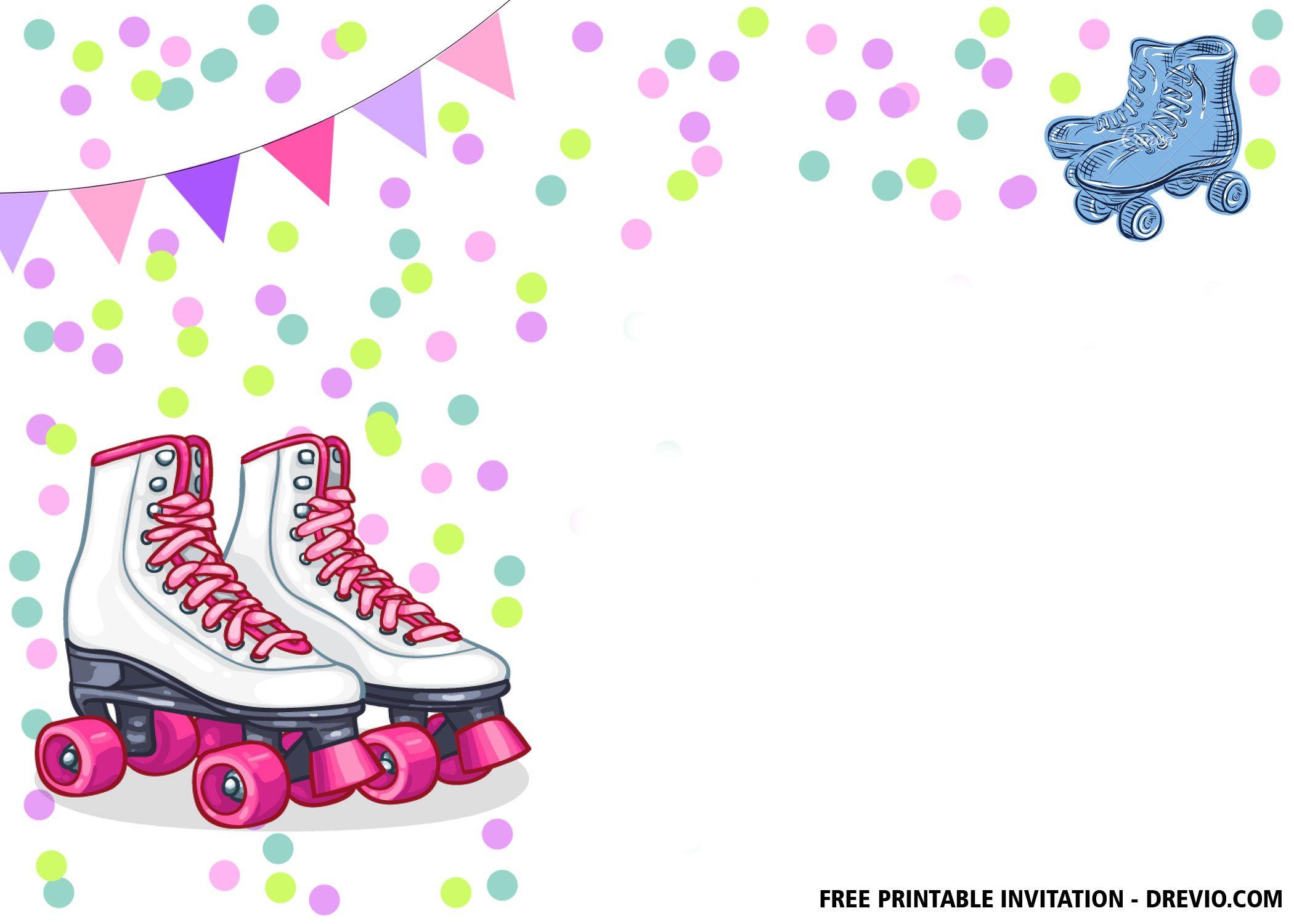 Free Printable Roller Skates Invitation Templates Free