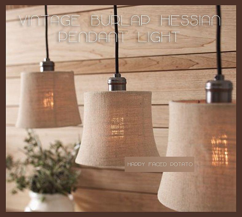 Burlap chandelier burlap hessian cloth pendant light chandelier lamp shade edison