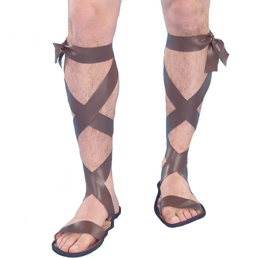 01af8fb9fb9 Roman Adult Sandals Includes a pair of costume sandals with lace up straps.  Weight (lbs) 0.21 Length (inches) 11.5 Width (inches) 6.5 Height(inches) 1.5