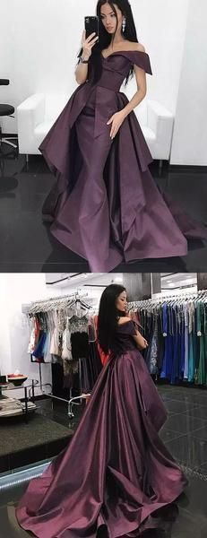 ca62e91a5d Grape Purple Off Shoulder Convertible Over skirt Prom Dresses by prom  dresses