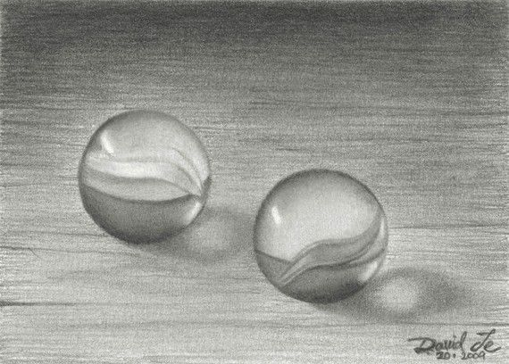 Pair Of Marbles Original Still Life Aceo Pencil Drawing