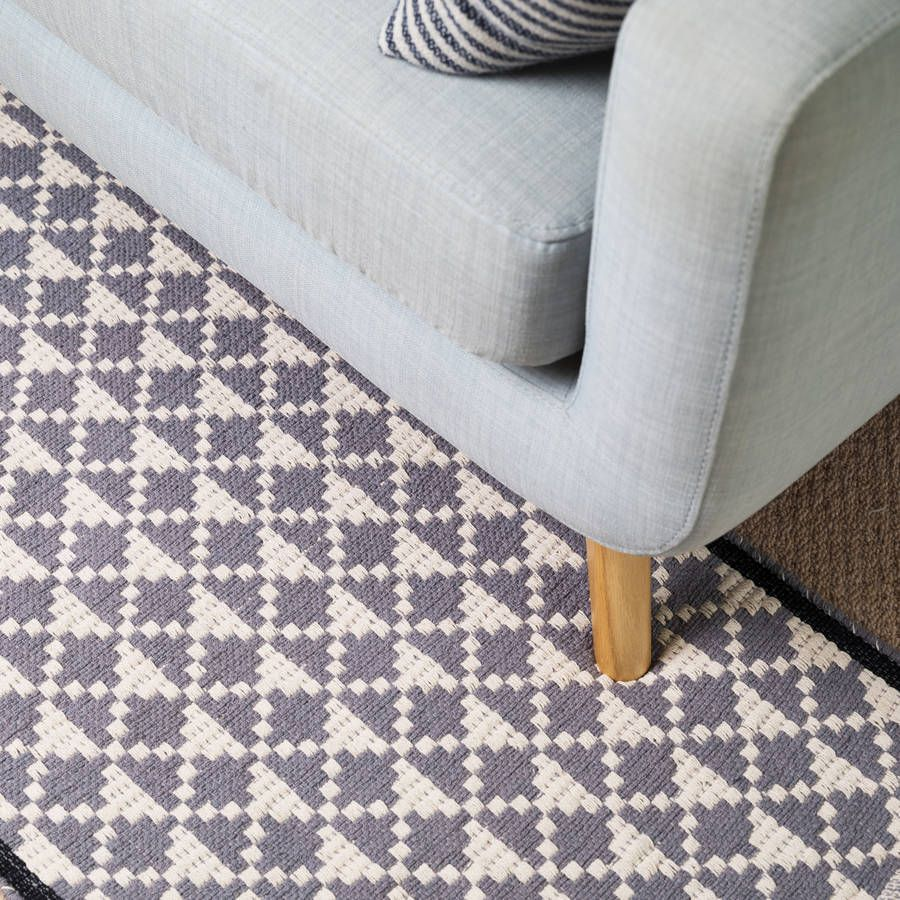 Are You Interested In Our Geometric Woven Runner Rug With Cotton Grey Black