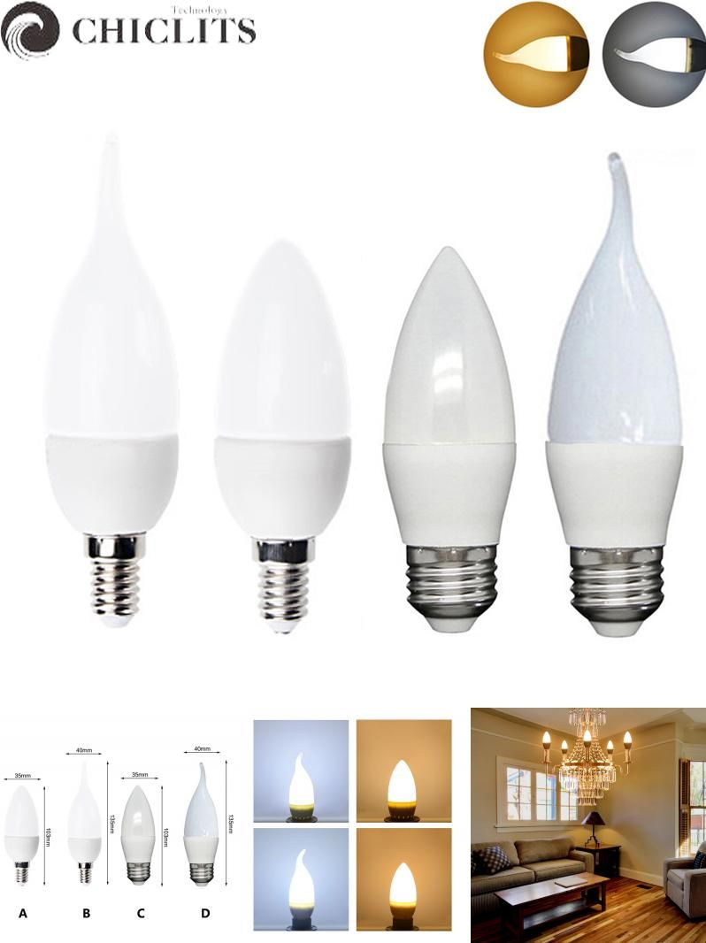 Visit to Buy] Velas Led Candle Light Lamp 220V E14 3W 5W Chandeliers ...