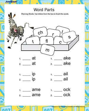 Word Parts – Free, Printable English Worksheets for Kids – JumpStart ...