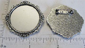 Victorian rose border brooch setting pin back round 30mm bla