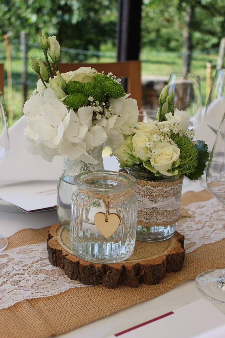 Hochzeitsdeko Vintage Mit Jute Und Holzscheiben Hochzeitsdeko