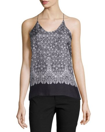 HELMUT LANG Floral Silk Cross-Back Tank, Black/Multicolor, Black Multi. #helmutlang #cloth #