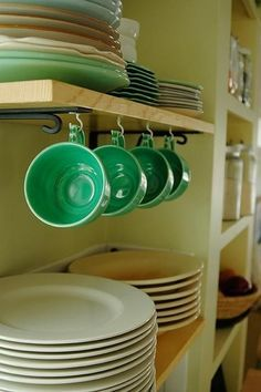 Image result for how to hang mugs under cabinet cup rack | For the ...