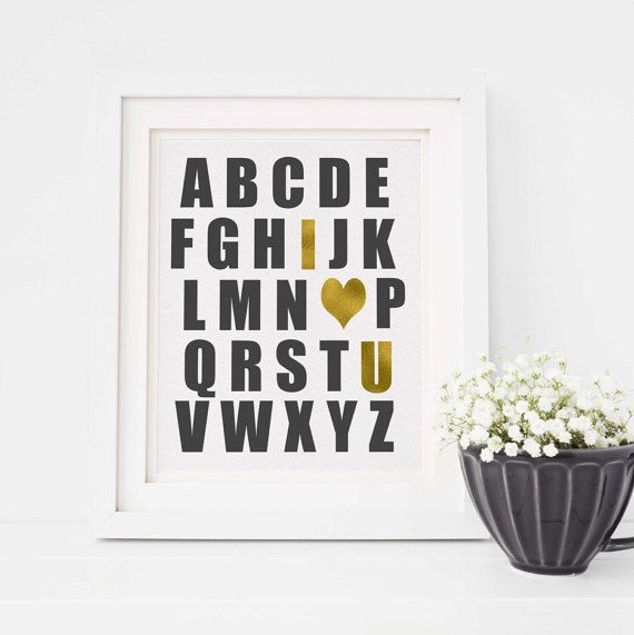 Nursery Art Print  Alphabet I Heart You  Gold  I by TinyLittleDots