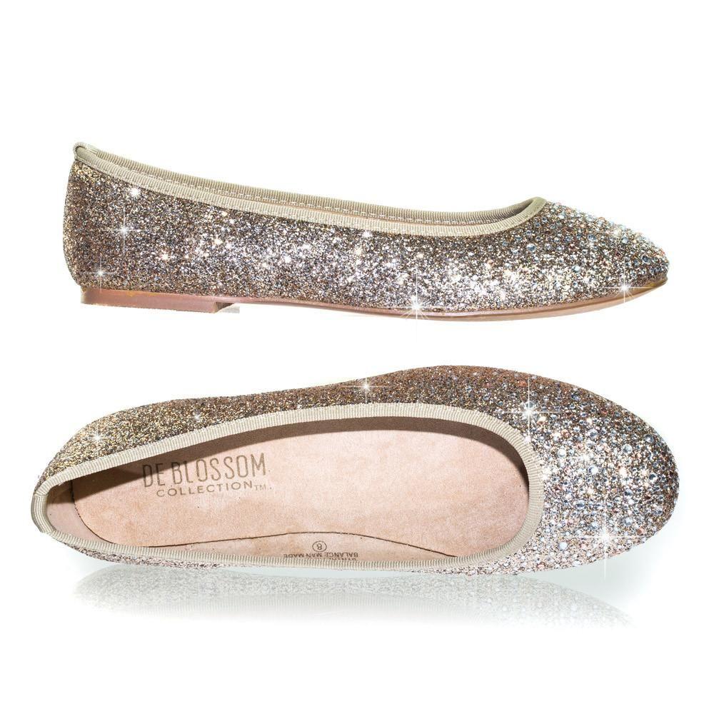 New women/'s shoes ballerina ballet flats glitter round toe wedding casual Silver