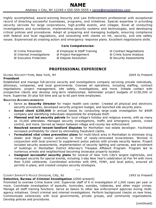 Resume Sample - Law Enforcement Professional Page 1 Law - Executive Protection Resume