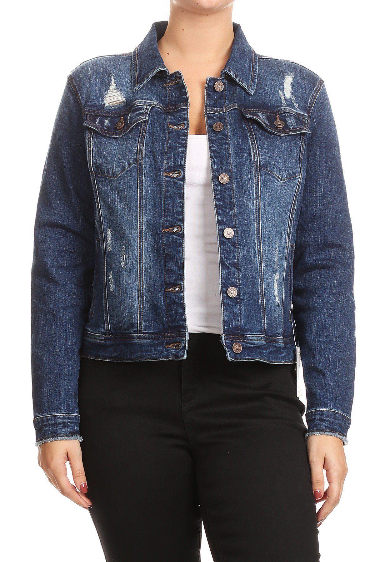 fe03b93d01f8 Salt Tree Women's EnJean Plus Size Distressed Washed Out Denim Jacket, US  seller
