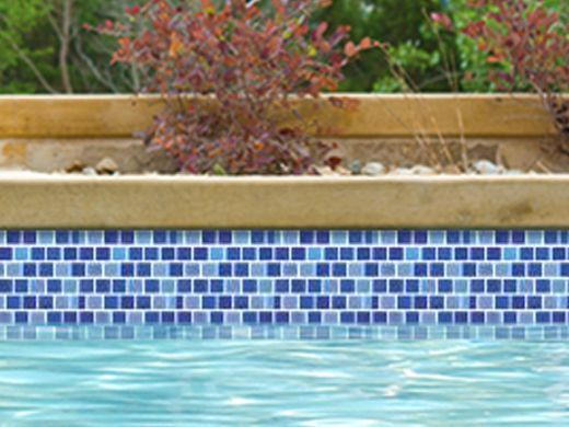 National Pool Tile Reflections 1x1 Glass Tile  Blue Lagoon ...
