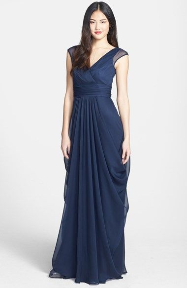 Lela Rose Bridesmaid Drape Crinkled Chiffon Gown available at #Nordstrom