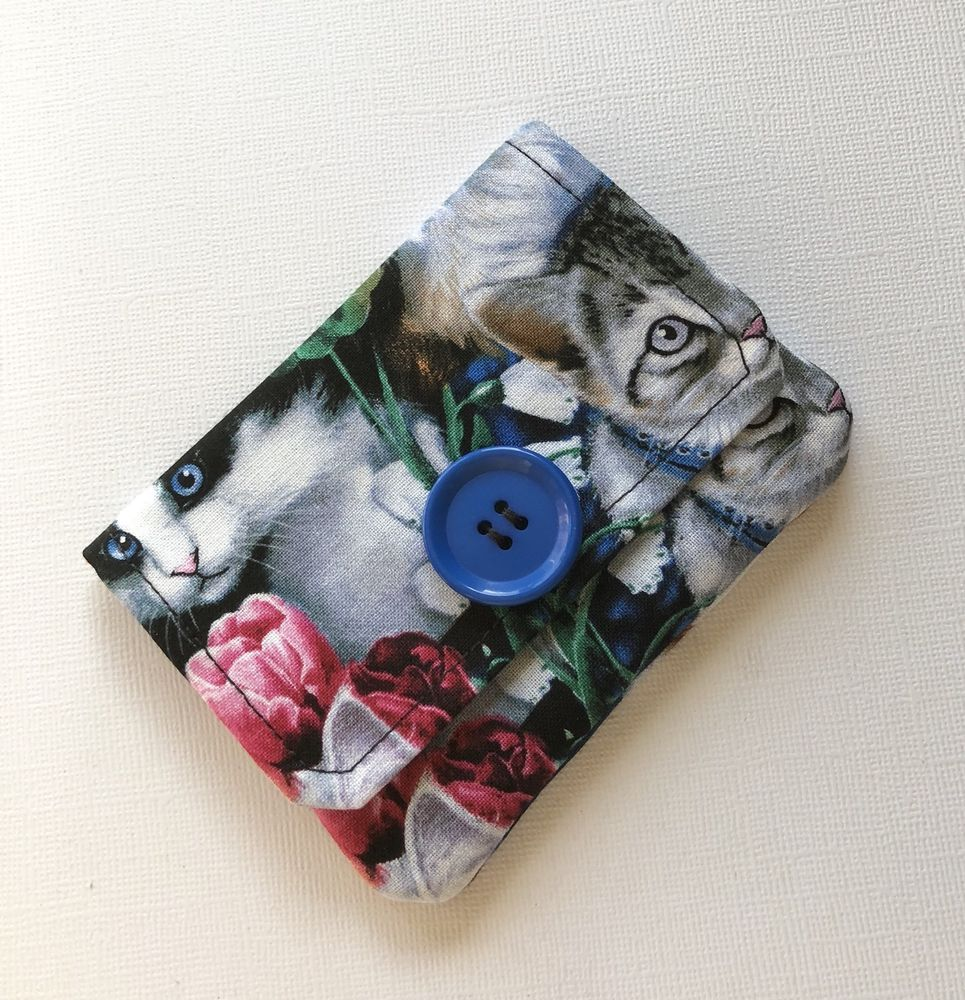 Fabric Credit Card Case, Kitten Fabric, Business Card Holder, Fabric ...