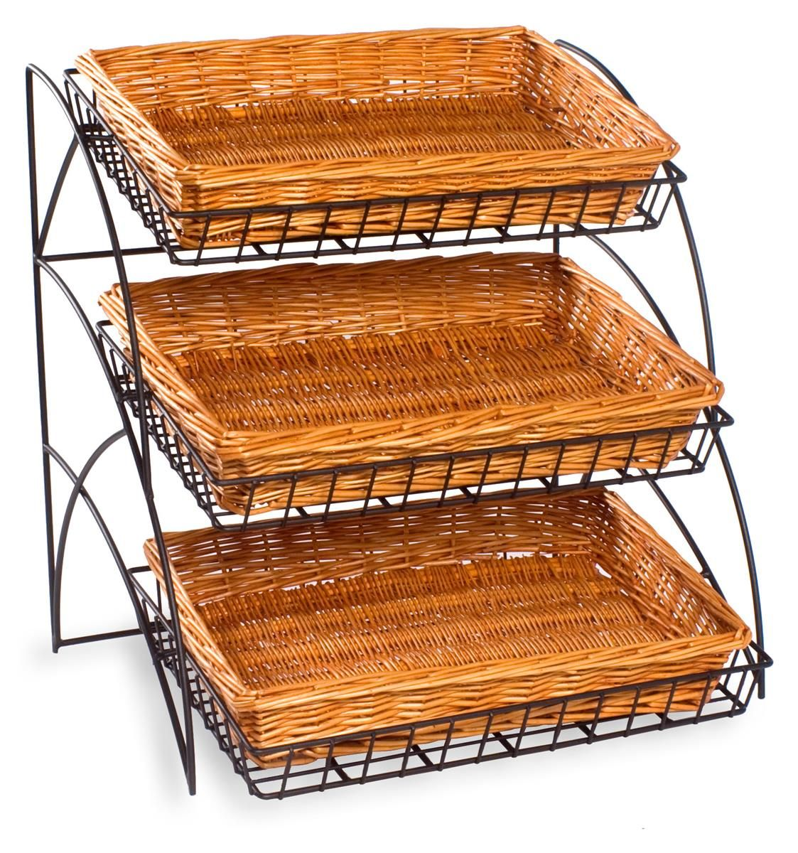 21 Tiered Wire Rack Countertop 3 Shelves With Wicker Baskets