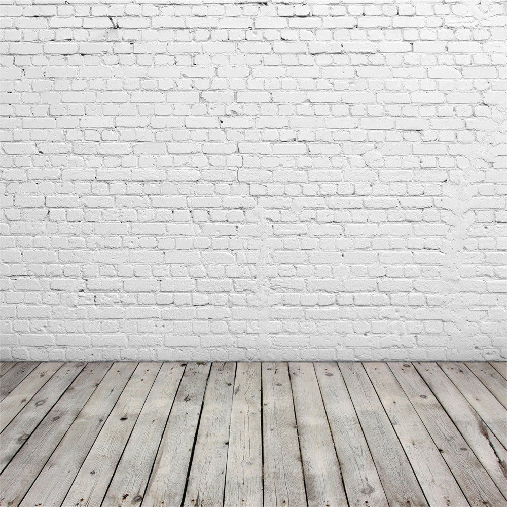 Amazon.com : SUSU Photography Backdrops White Brick Wall Background With  Gray Wood Floor Photo