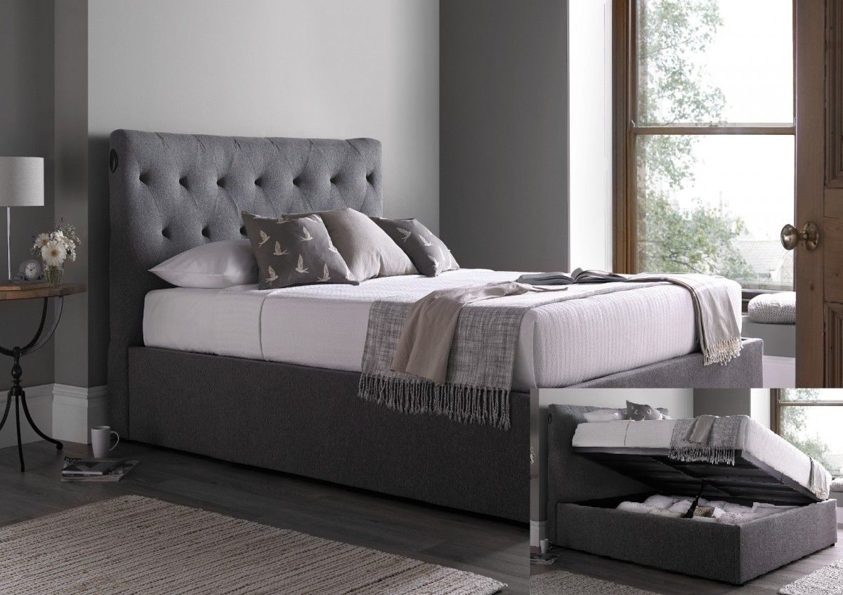 Kaydian Versace Smoke Upholstered Automatic Lift Up Bed Frame Only