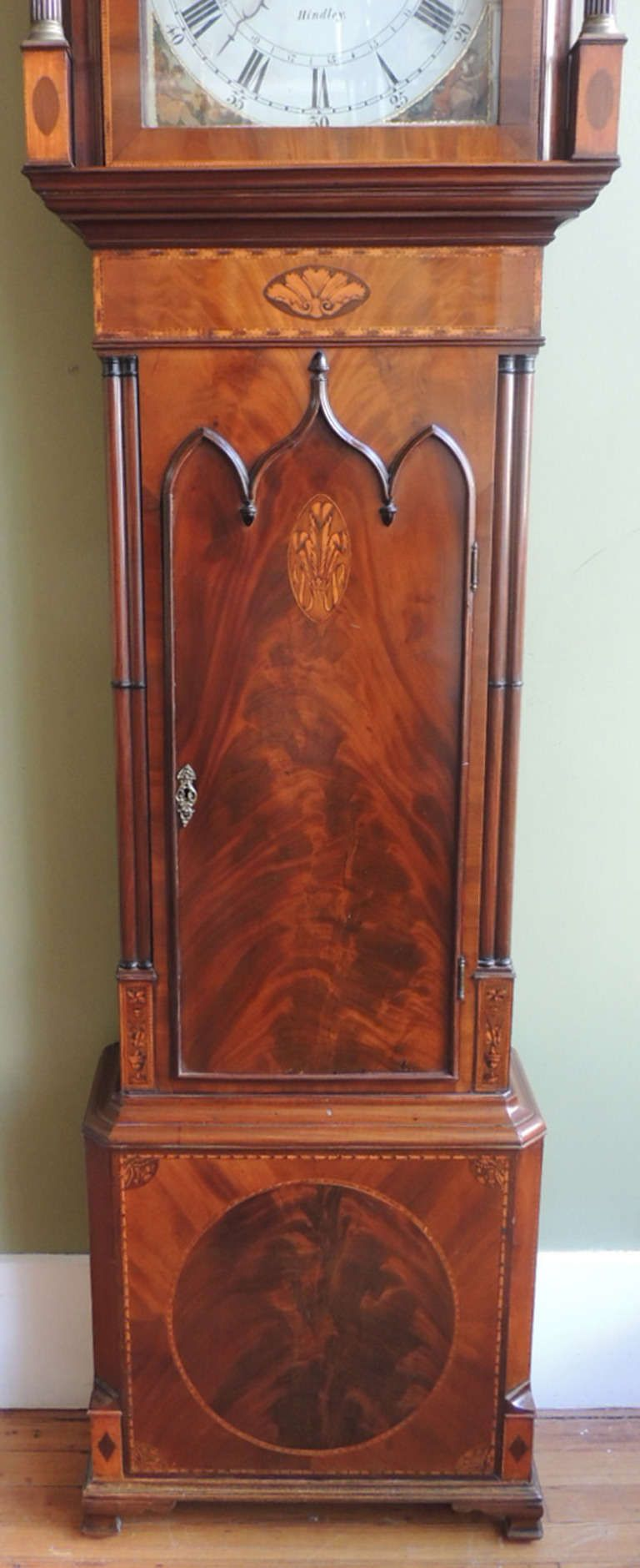 "1stdibs | 18th Century Chippendale Grandfather Clock | UK, c.1760 | Mahogany & Pine | 22""w x 12""d x 7'8"""