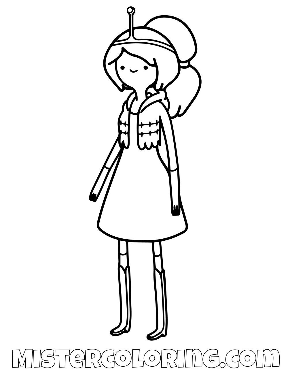 Free Princess Bubblegum Posing Adventure Time Coloring Page For