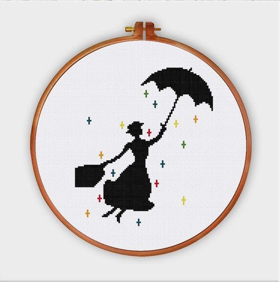 Mary Poppins pépinière modèle de point de croix | Silhouette de la culture populaire moderne film bébé compté graphique | Pdf Téléchargement instantané facile débutant mignon