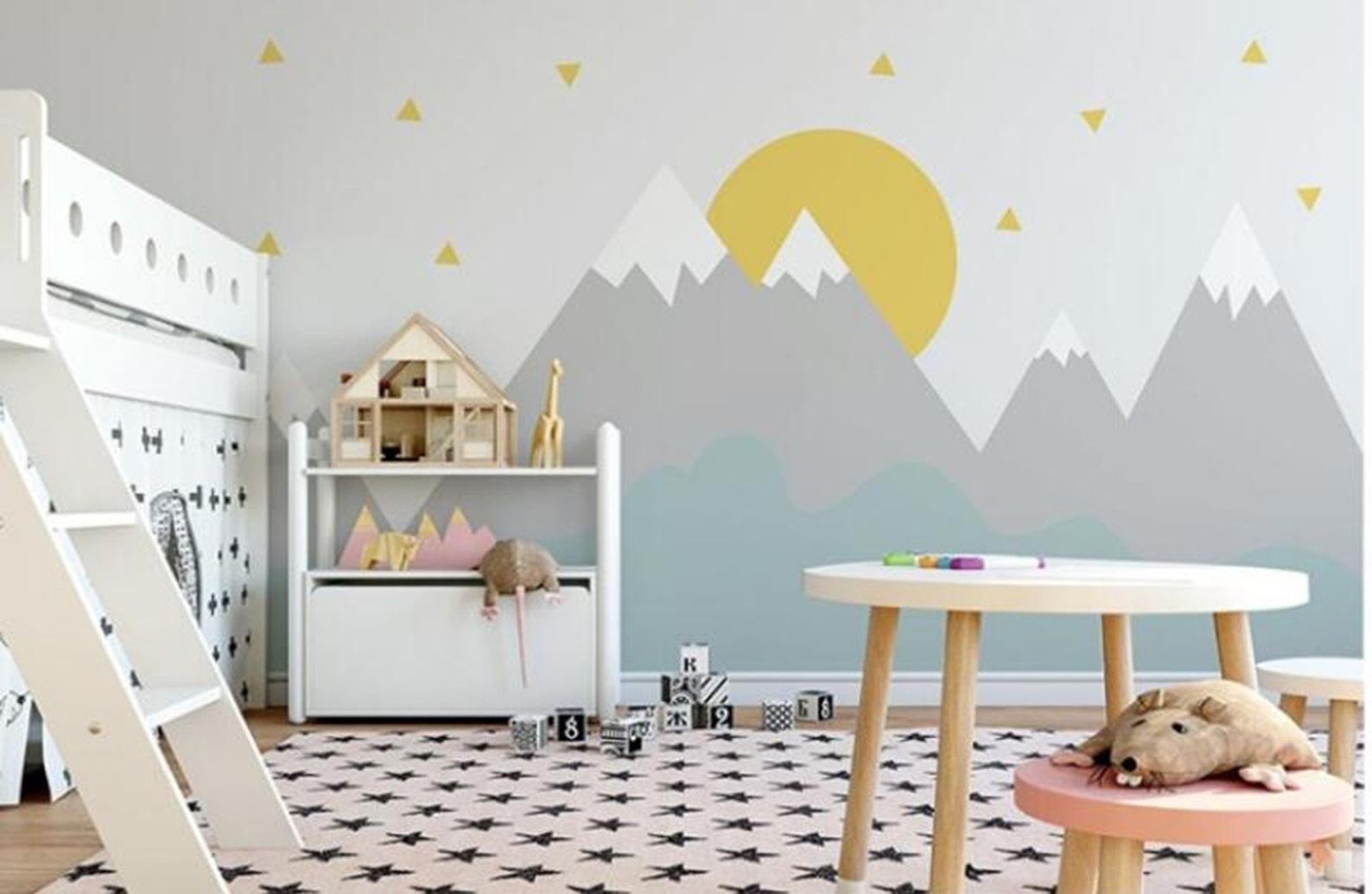 Hand Painted Cartoon Geometric Nursery Children Wallpaper Wall