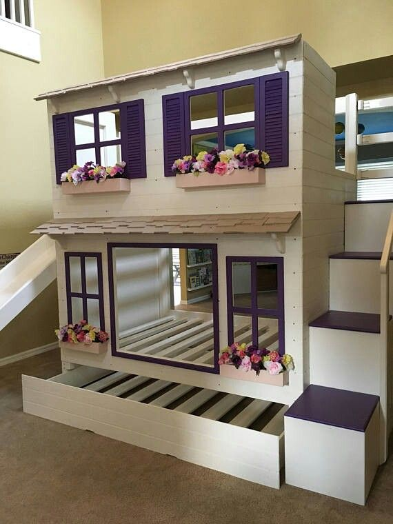Wood Bunk Bed with Stairs and Slide option Kinderkamer Pinterest