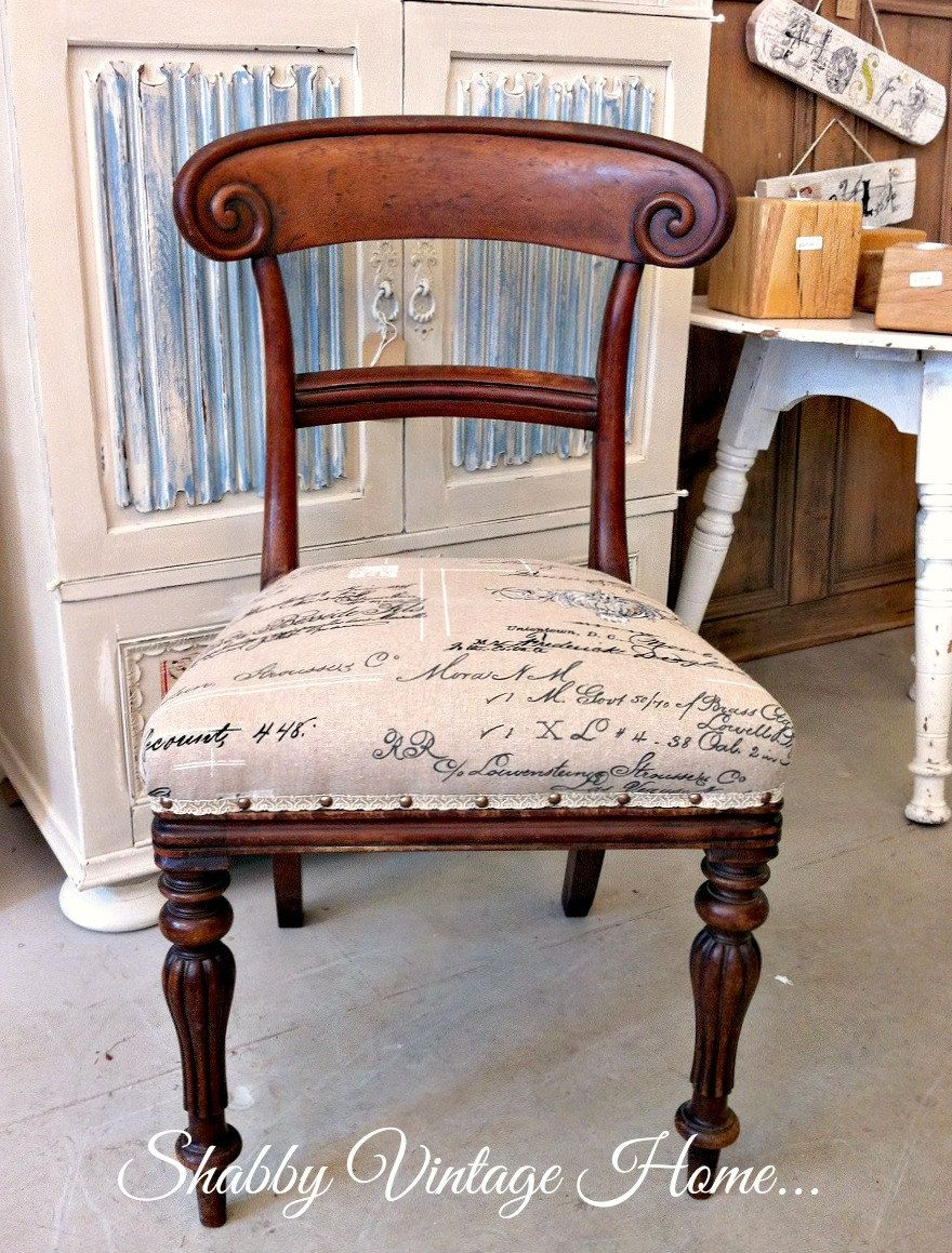 Antique victorian dining chairs - Shabby Vintage Antique Victorian Dining Chair With Newly Upholstered French Script Seat