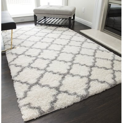 House Of Hampton Aria Quatrefoil Ivory Grey Area Rug Modern Area Rugs Moroccan Area Rug Rugs In Living Room