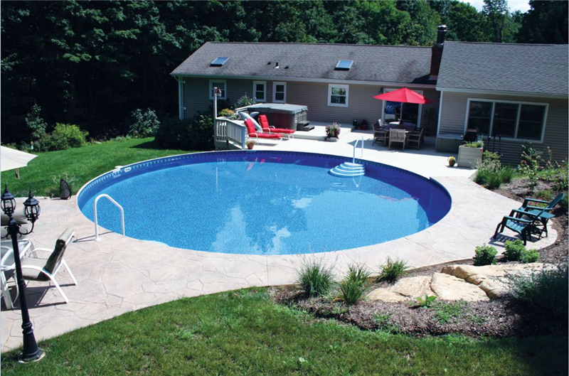 Inground Pool Landscaping Ideas swimming pool and landscape with pic of minimalist swimming pool and landscape swimming pool and Berm Of Landscaping On One Side And Create Some Privacy From The Road On A Corner Pool Ideaspatio
