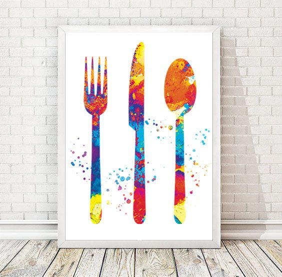 Kitchen Art Kitchen Watercolor Print Spoon Knife Fork KItchen Painting Food  Poster Wall Art Party Decor