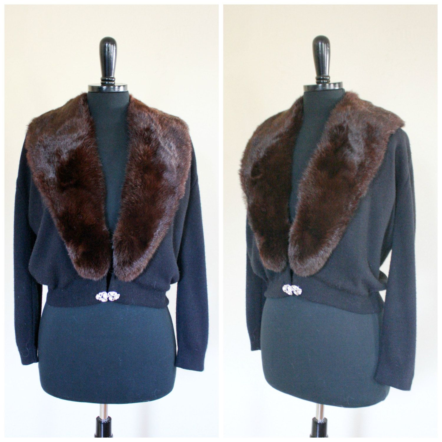 Vintage 1950s Black Fur Collar Sweater Brown Fur Rhinestone ...
