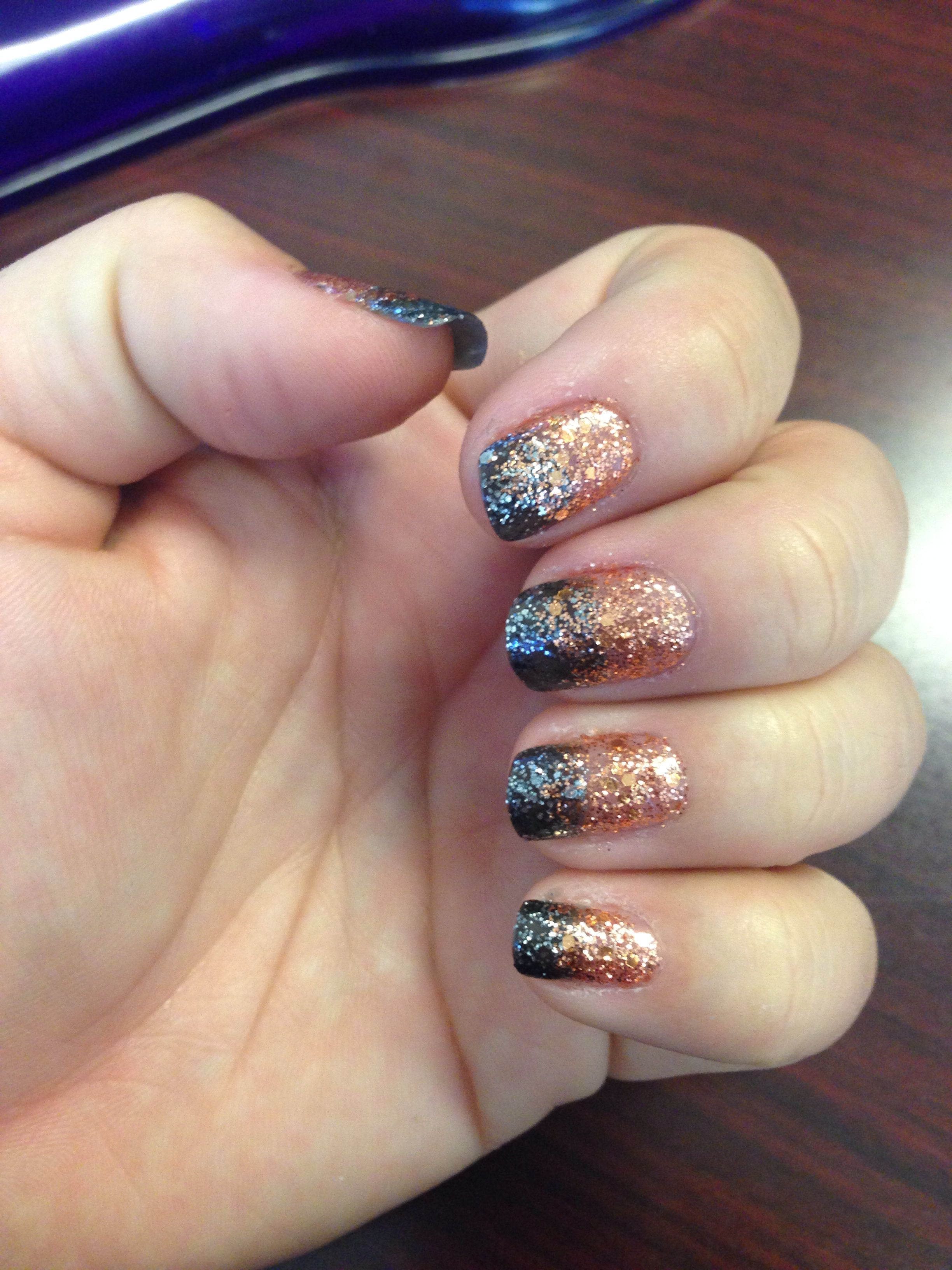 Orange and black ombre glitter nails | Black ombre nails ...