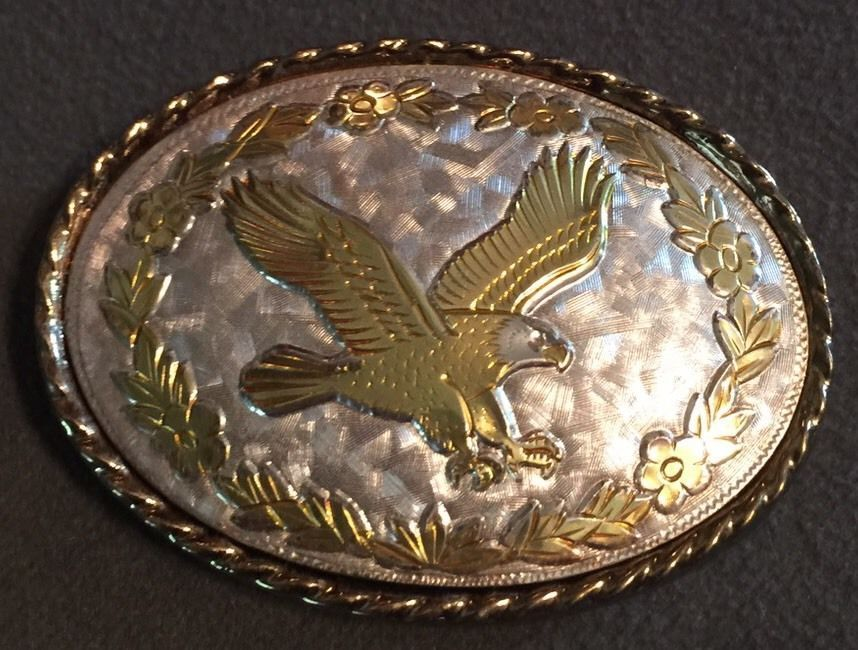 f578861d0 Details about American Bald Eagle Western Polished Gold Silver Oval ...