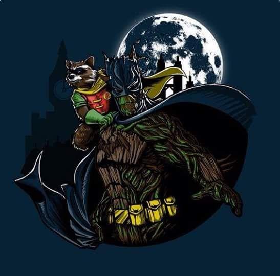 Groot y rockert raccon haciendo un homenaje a batman (espia827) - http://ift.tt/1HQJd81