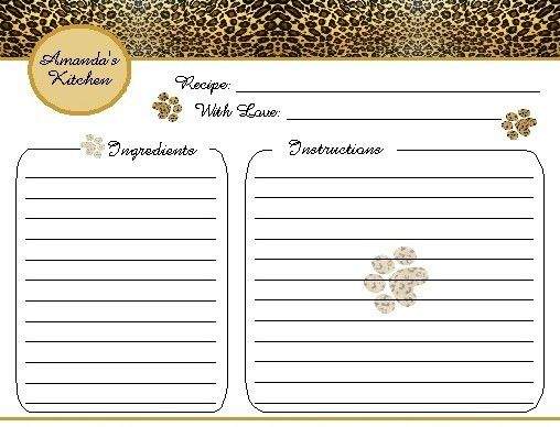 ANIMAL PRINT Recipe Cards ~PERSONAL COLLECTION / WEDDING, BRIDAL ...