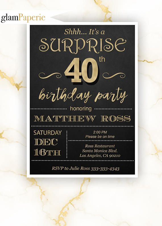 black and gold surprise 40th party invitation for man 40th