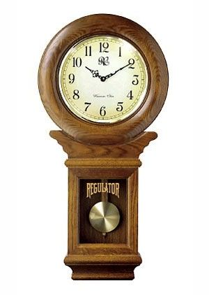 Lacrosse Oak Regulator Chiming Wall Clock Lcr3416 O Solid Oak Frame Front And Sides Reproduction Influe Pendulum Wall Clock Chiming Wall Clocks Wall Clock