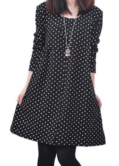 Round Neck Black Long Sleeve Dot Dress | lulugal.com - USD $21.57