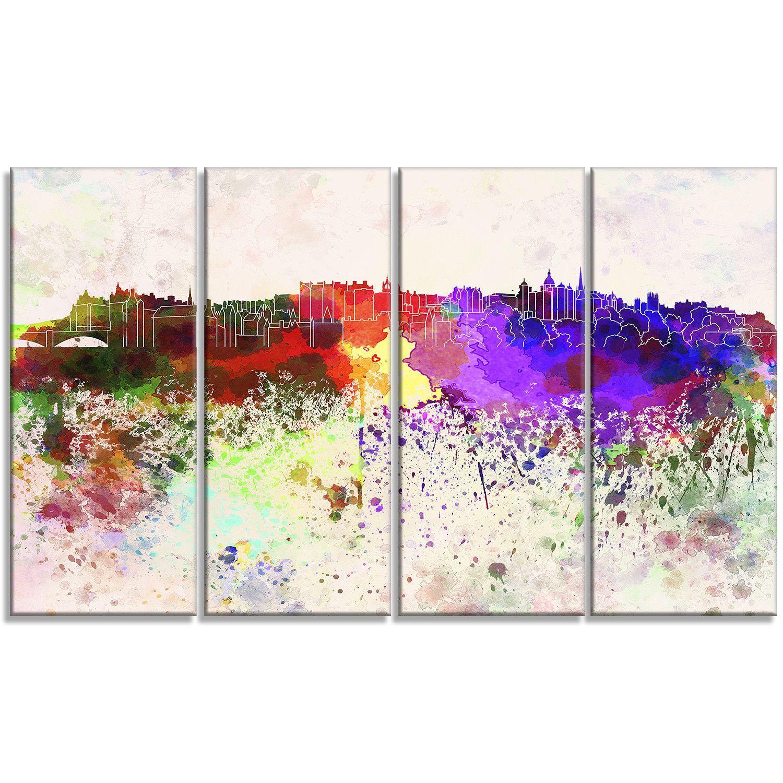 Edinburgh Skyline Cityscape 4 Piece Graphic Art on Wrapped Canvas Set