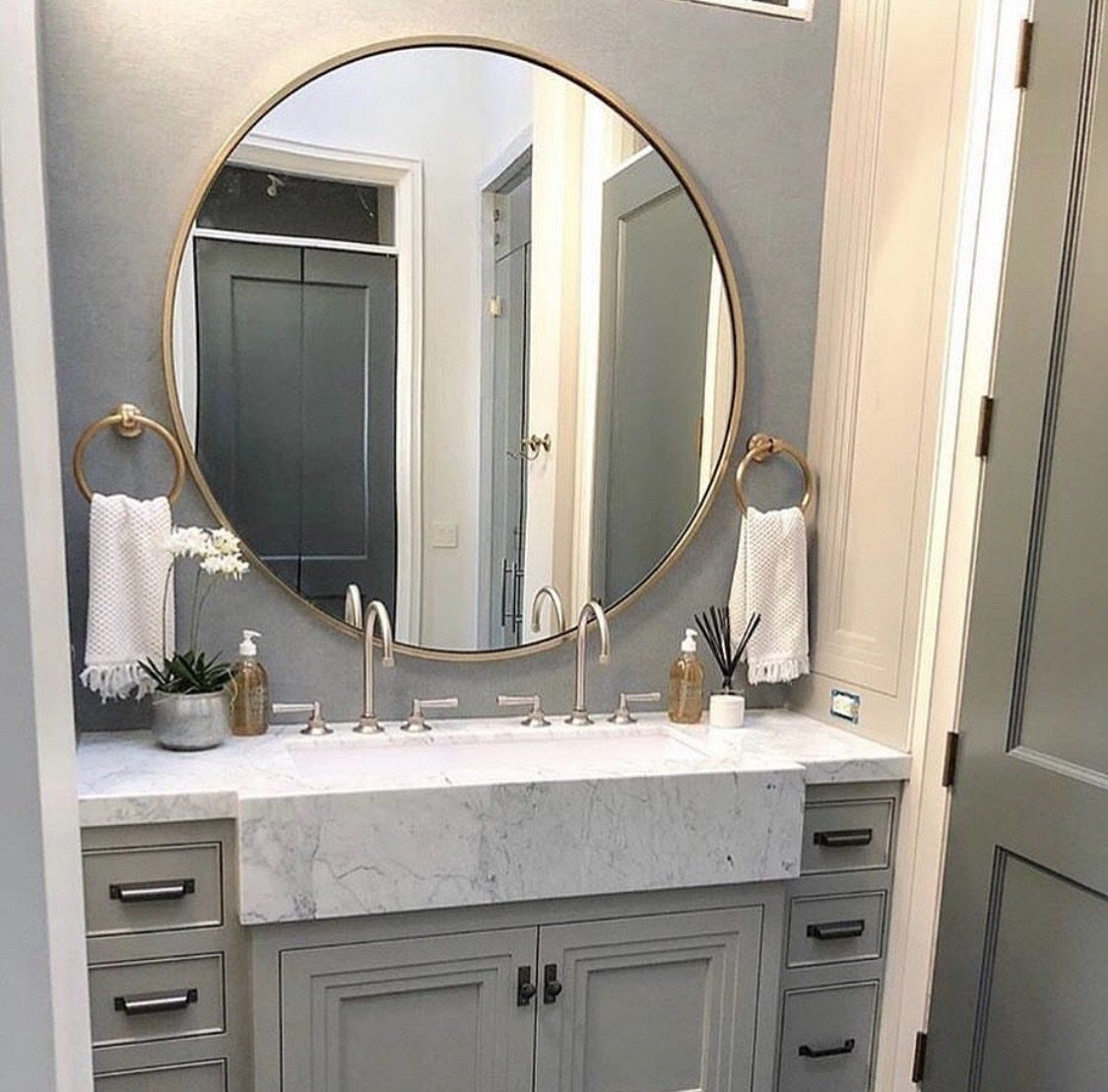 circal gold leaf large round mirror  small master bath