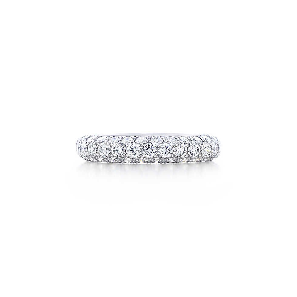 Etoile Three Row Band Ring With Pav 233 Diamonds In Platinum Tiffany Diamond Bands Tiffany Wedding Rings Eternity Ring
