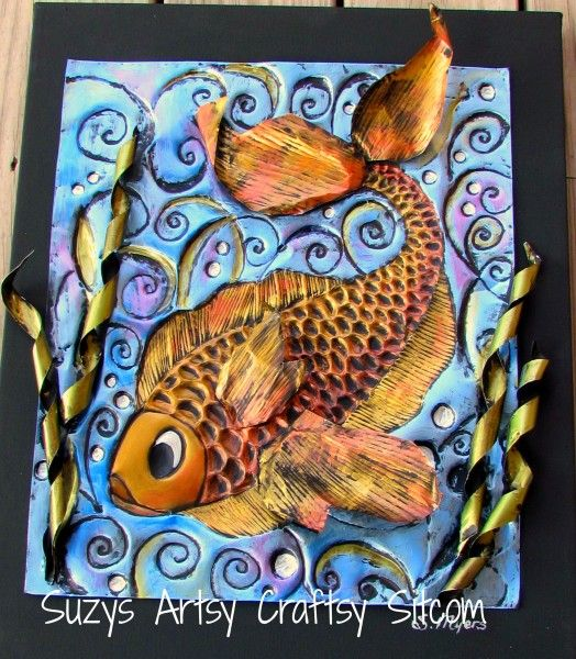How to make 3d art with aluminum pans aluminum foil art for Tin foil fish