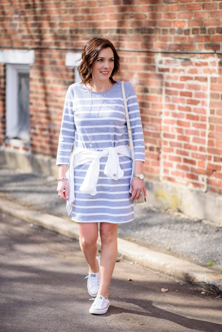 5551d6edb0fc This casual stripe dress with Converse Shoreline kicks is a perfect casual  weekend outfit for spring. Best of all, the dress is $24!