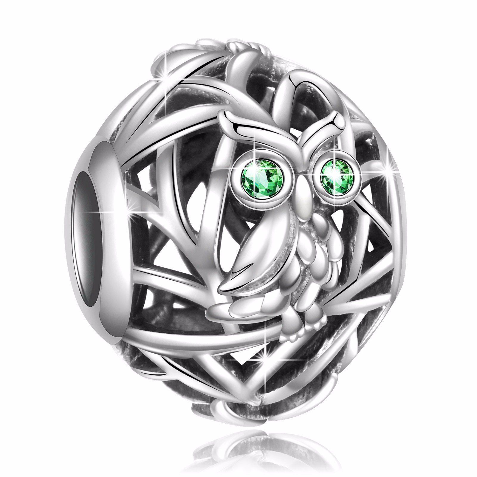 c9bd962a1 925 Sterling Silver Openwork Owl Charms with Zirconia Bead for European  Snake Chain Bracelets. Perfect