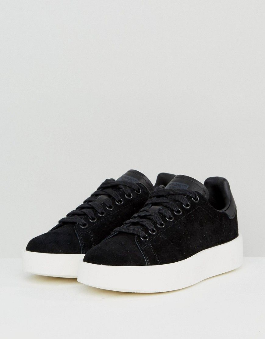 new products 1f512 53d8c adidas Originals Black Nubuck Stan Smith Bold Sole Sneakers - Black